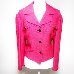 St. John Collection Santana Knit Hot Pink Blazer
